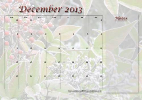 Free Download: Calendar page December 2013