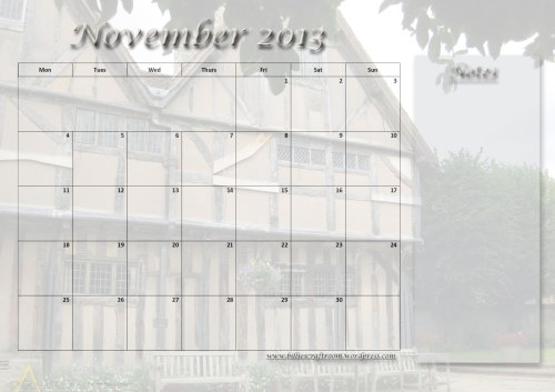 Free Download: Calendar Page November 2013