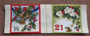 Advent calendar panel: Pockets ironed into shape and ready to sew on.