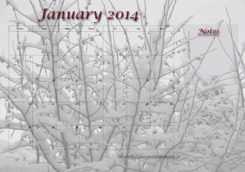 Free download: Calendar page; January 2014