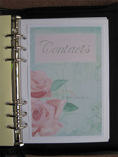 Filofax make over Chapter/section page