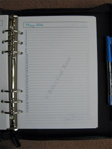 Filofax make over Diary page
