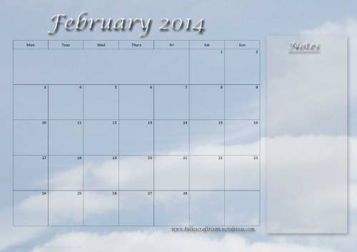 Calendar page for February 2014