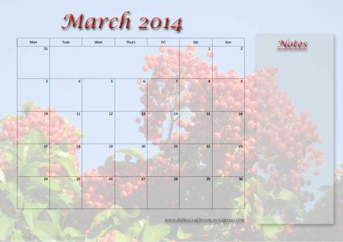 Free Download: calendar Page March 2014