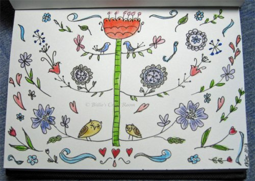 Folk art doodle inspired by Flora Chang's design in Craft-a doodle book
