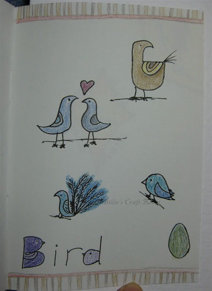 Bird doodle page, inspired by Flora Chang