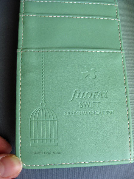 Close up of the inside of the Filofax Swift Personal sized organiser