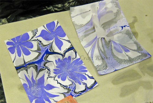 First generation marbled paint print on the left and the second generation on the right.
