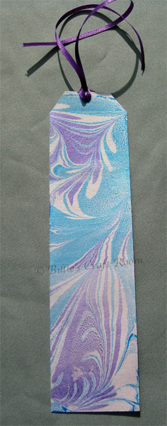 Bookmark. Marbling onto Pearl Card stock