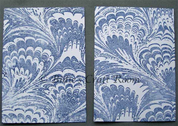 Paper marbling with Rubber stamps