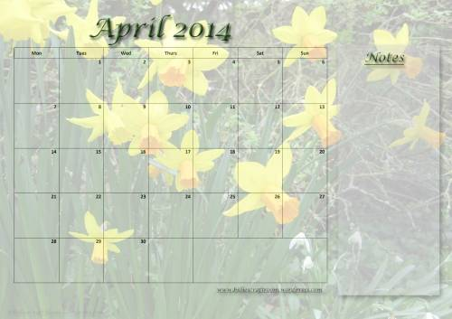 Free download Calendar page for April 2014