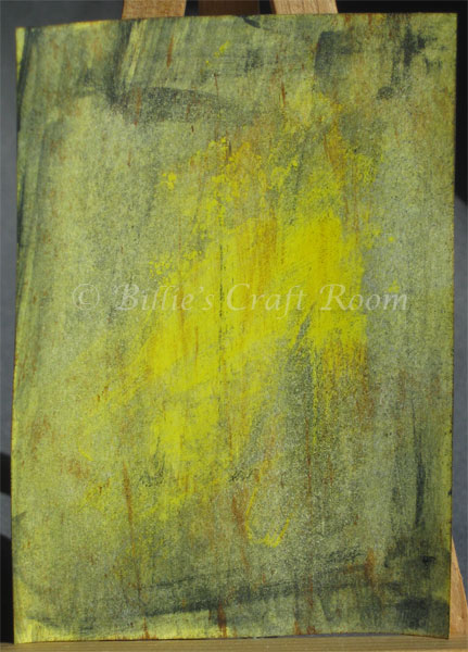 Mixed media distressed background, yellow is new for me.