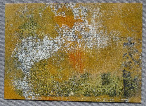 Geli plate print onto Manilla card mixed media JOY