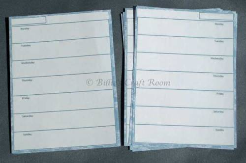 Pocket Filofax Diary Page design. Narrow frame design