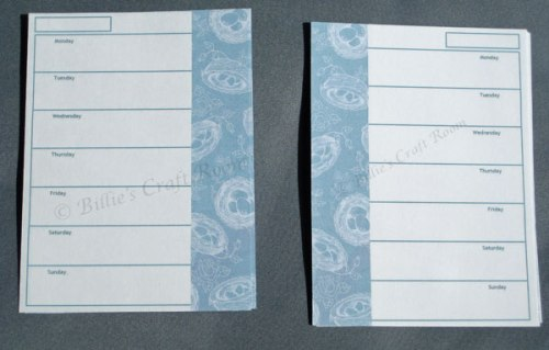 Pocket Filofax Diary pages, with wide 'washi tape' style edging.