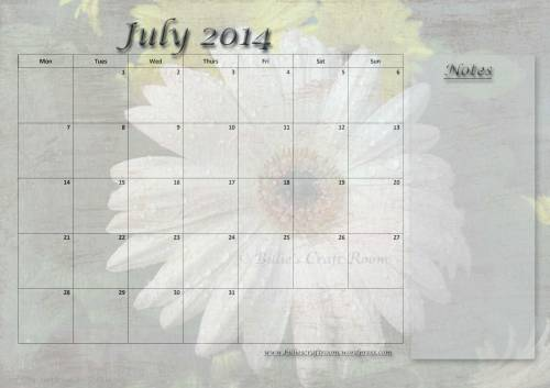 Free Calendar page: July 2014