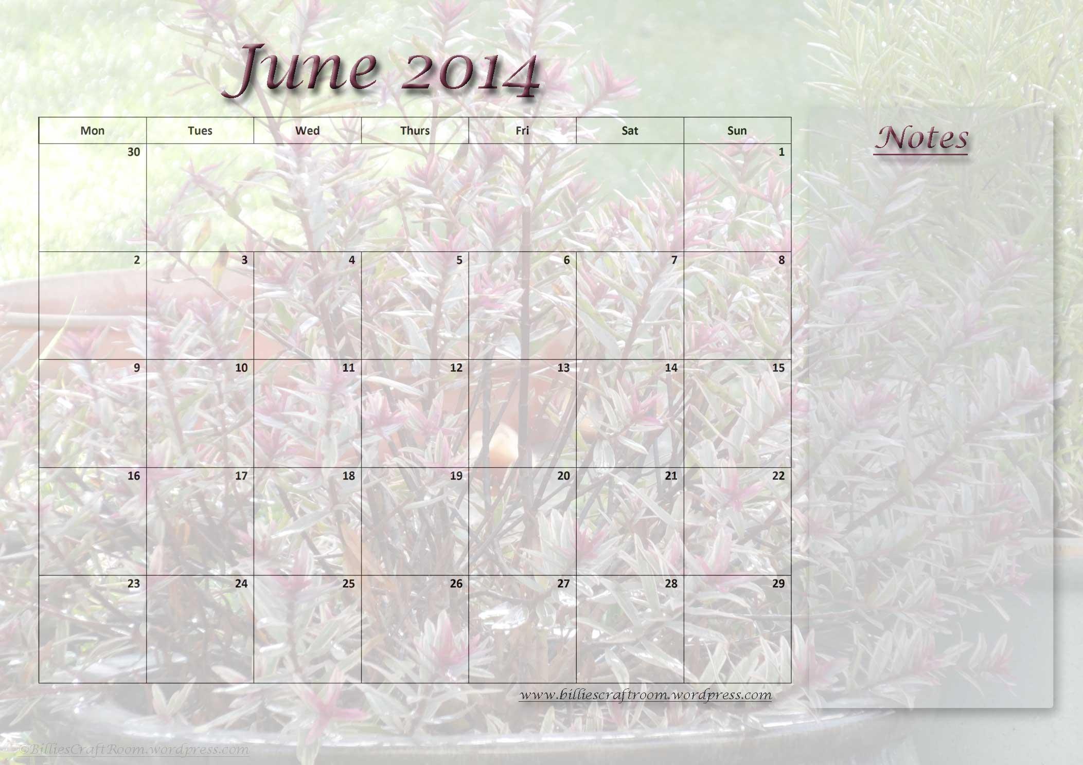 Full Page June 2014 Calendar