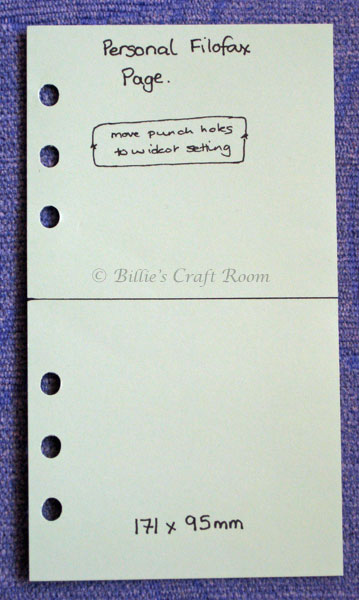 Filofax Personal Cutting and punching template