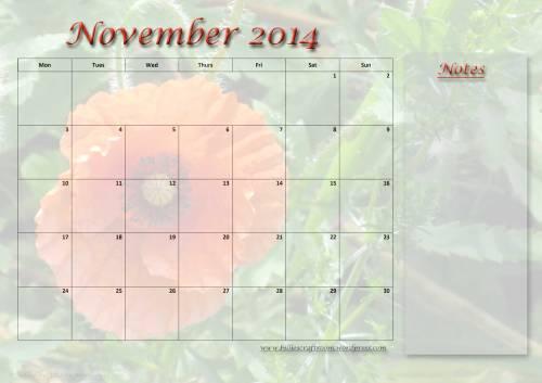 Free calendar page: November 2014