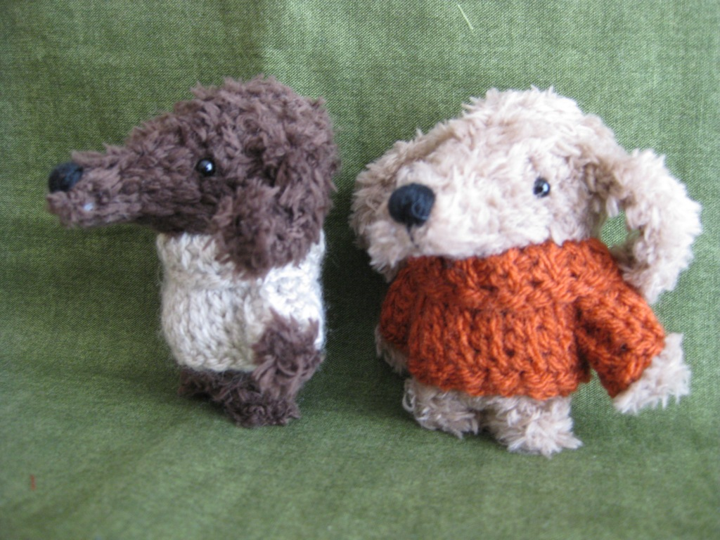 Crochet puppy dogs, made by Rues Bears