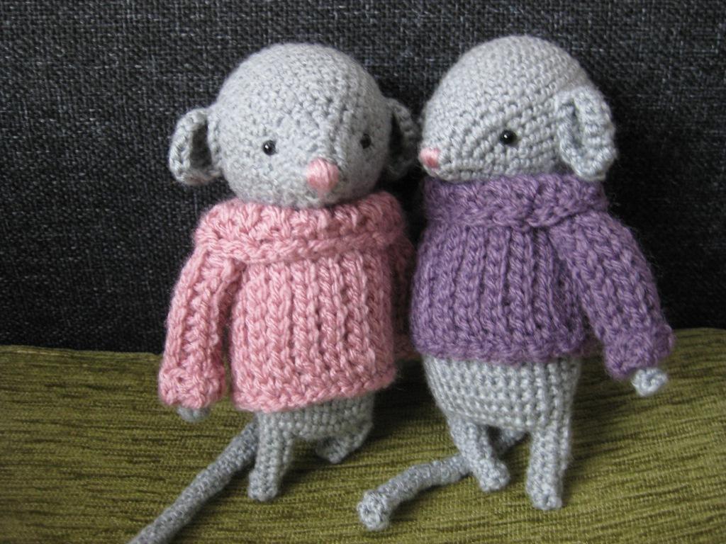 Two grey crochet mice