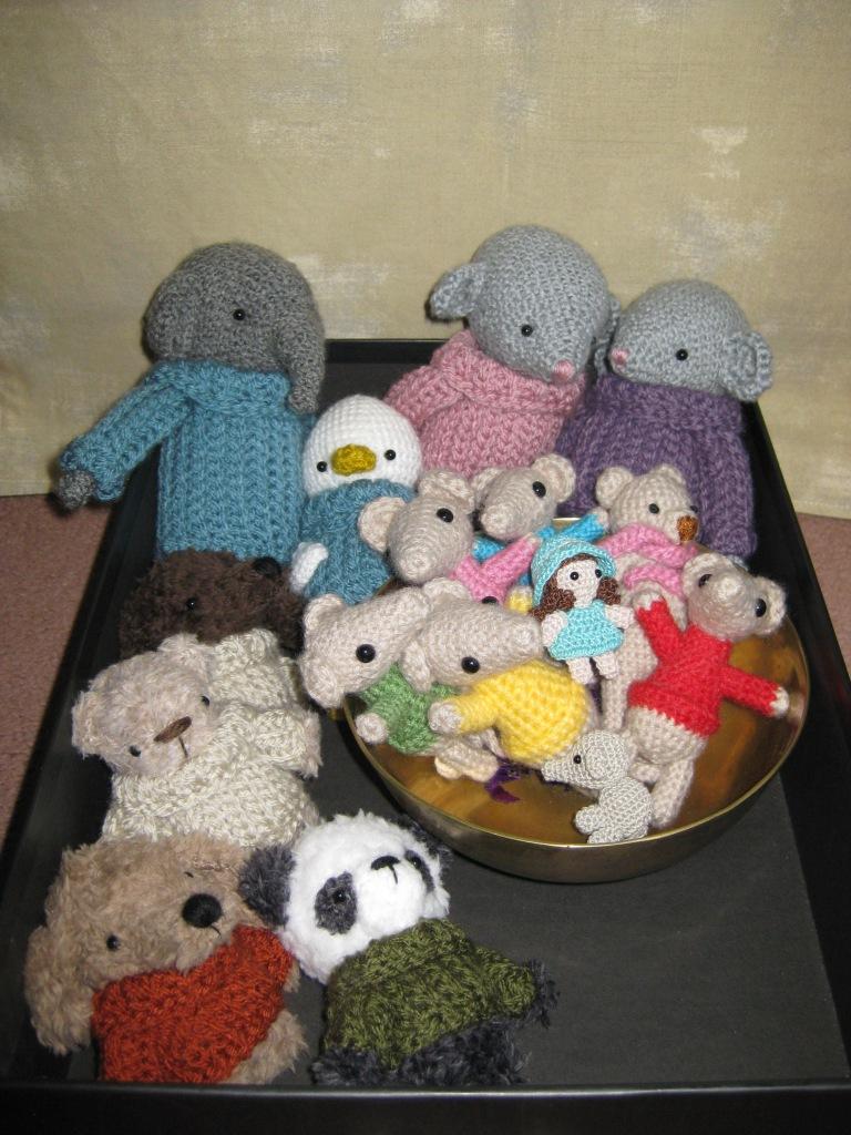 Box of crochet animals